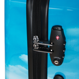 Saxoline Blue trolley suitcase with Island print