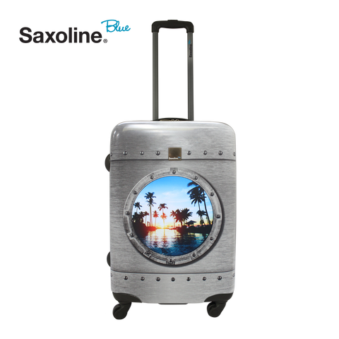 Famous Saxoline blue trolleys at luggageandbagsstore.com
