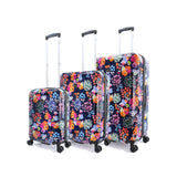 printed luggage with flowers