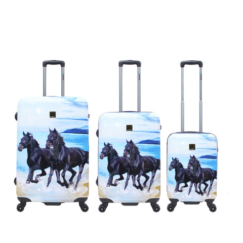 printed hard luggage set with horses