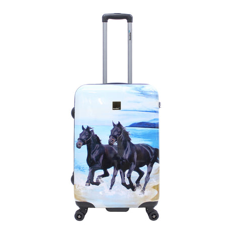 printed hard luggage with horses