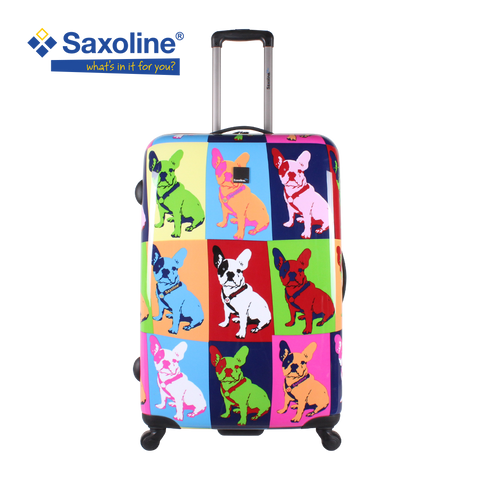 Hard trolley case with 4 wheels and bulldog print Saxoline