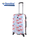 medium size hard trolley suitcase Saxoline with flamingo print