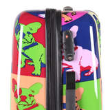hard luggage with bulldog print pop art in HK
