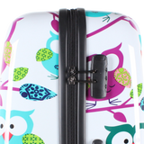 printed hard luggage with owls | luggageandbagsstore.com