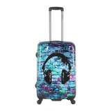 hard luggage  with headphone print Saxoline