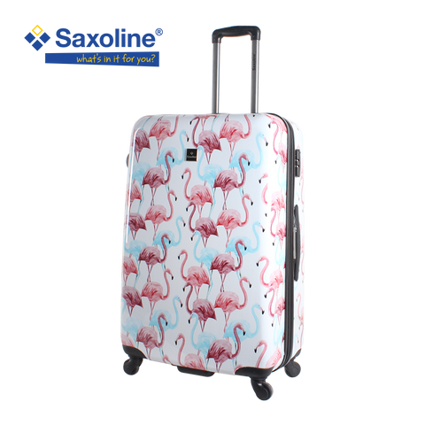 Printed hard luggage Saxoline with flamingo print | HK
