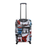 Medium size hard luggage with print Saxoline