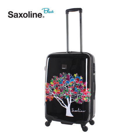 Printed hard shell trolley Saxoline blue Medium | HK