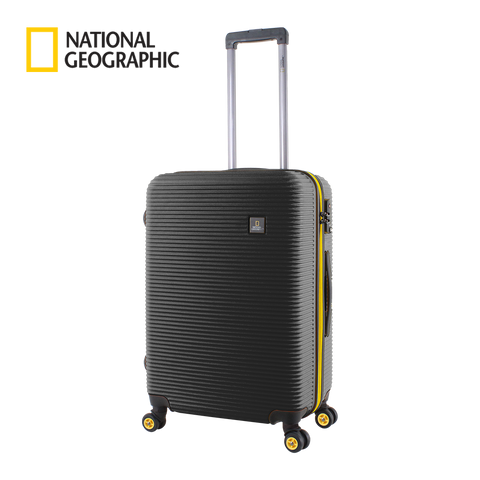 Medium size black National Geographic suitcase with wheels