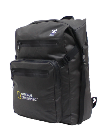 waterproof rucksack with roll top closure