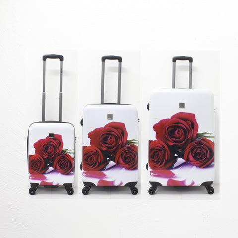 Saxoline luggage set with red roses print
