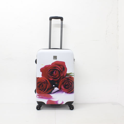 suitcase printed with red roses