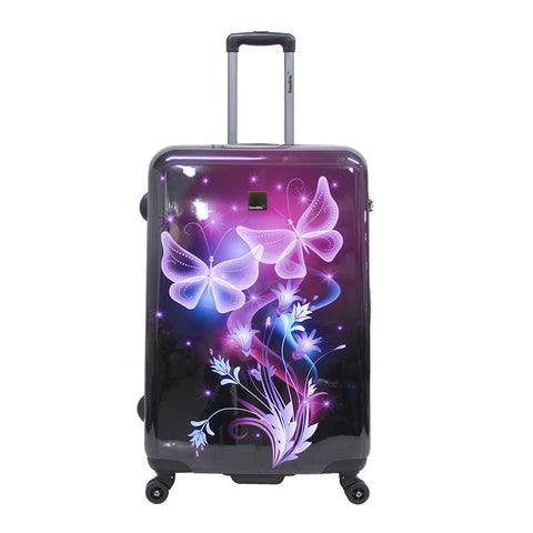 hard luggage with butterfly fun print