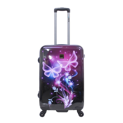 Hard saxoline luggage with butterfly print