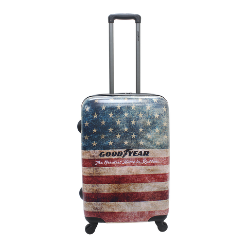 Hard luggage Goodyear with American vintage print