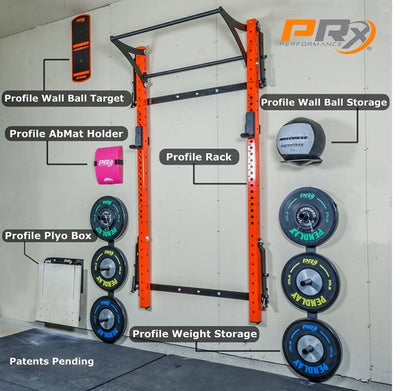 Prx Performance orange pro profile rack w/ kipping bar and weight storage