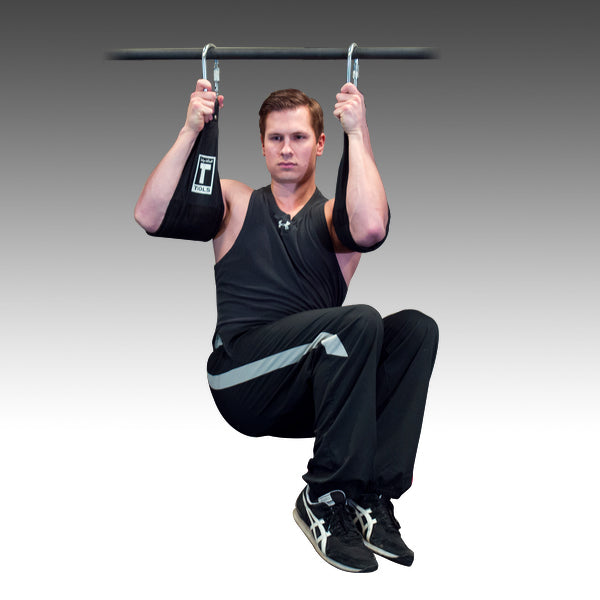 Body Solid Ab Slings ab exerciser with guy doing knee raises Simpsons Fitness Supply