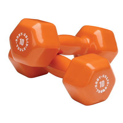 Body Solid Vinyl dumbbells 10lb orange Simpsons Fitness Supply
