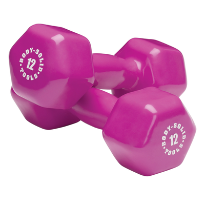 Body Solid Vinyl dumbbells 12lb pink Simpsons Fitness Supply