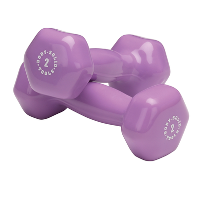 Body Solid Vinyl dumbbells 2 lb purple Simpsons Fitness Supply