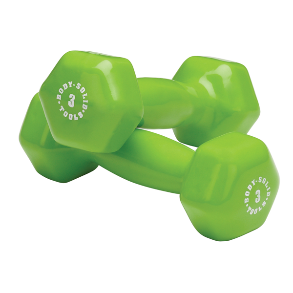 Body Solid Vinyl dumbbells 3 lb green Simpsons Fitness Supply