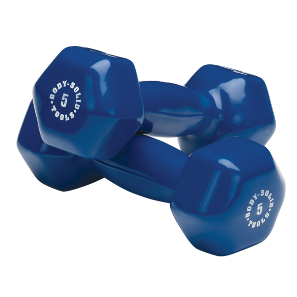 Body Solid Vinyl dumbbells 5lb blue Simpsons Fitness Supply