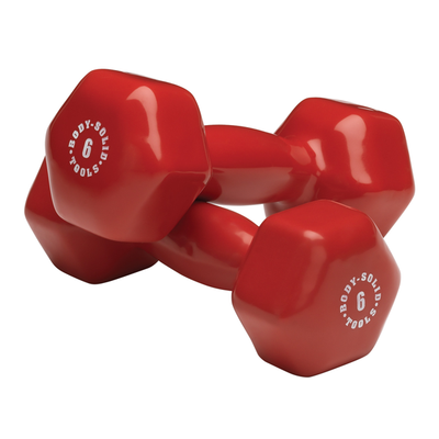 Body Solid Vinyl dumbbells  6lb red Simpsons Fitness Supply
