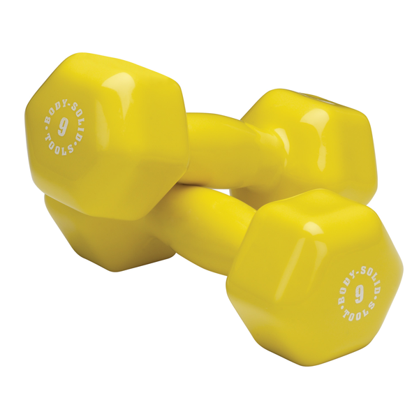 Body Solid Vinyl dumbbells 9lb yellow Simpsons Fitness Supply