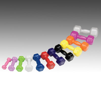 Body Solid vinyl dumbbells 12 pairs color dumbbells Simpsons Fitness Supply
