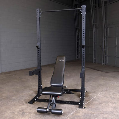 Body Solid SPR500 half rack black with pull-up bar, j-hooks, safety spotter arms with FID bench