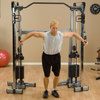 Body Solid Functional Trainer dual weight stack pull-up bar black and silver cable crossover