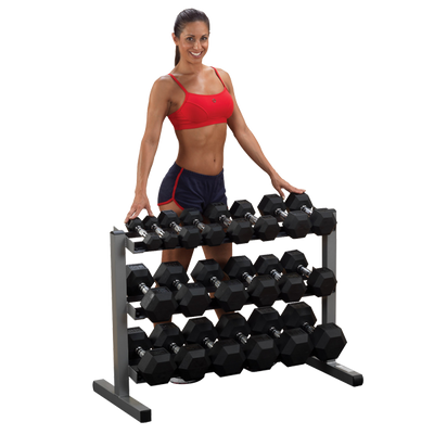 Body Solid 3 tier dumbbell rack for 5-50lb dumbbell set Simpsons Fitness Supply