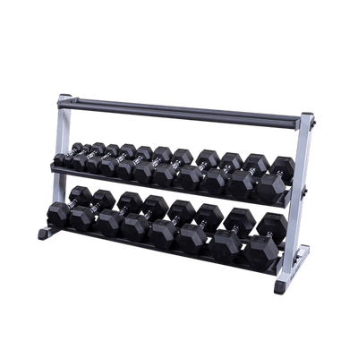 Body Solid optional 3rd tier medicine balls dumbbell rack black and silver Simpsons Fitness Supply