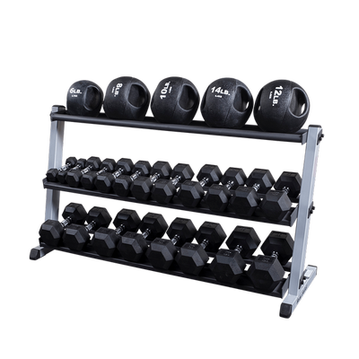 Body Solid three tier dumbbell rack black and silver with medicine balls  Simpsons Fitness Supply