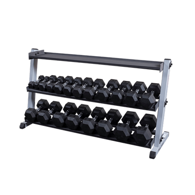 Body Solid Dumbbell rack with optional kettlebell storage rack Simpsons Fitness Supply