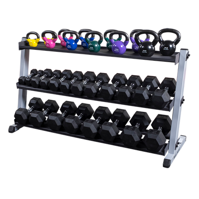 Body solid GDR60 dumbbell rack with optional 3rd tier kettlebell storage Simpsons Fitness Supply