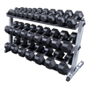 Body Solid 3 tier dumbbell rack with rubber hex dumbbells Simpsons Fitness Supply