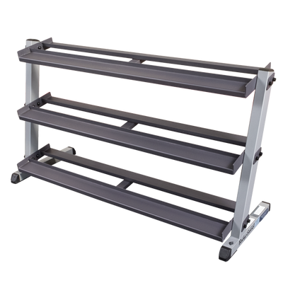 Body Solid GDR60 dumbbell rack with optional 3rd tier dumbbell storage Simpsons Fitness Supply