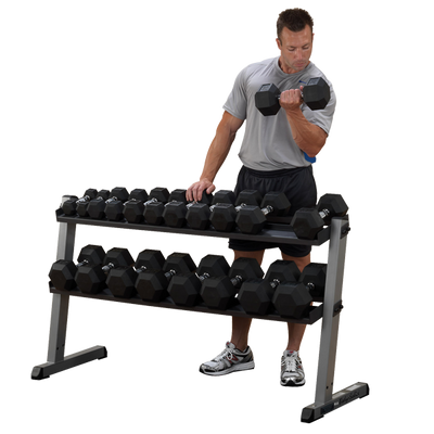 Body Solid two tier dumbbell rack black and silver Simpsons Fitness Supply