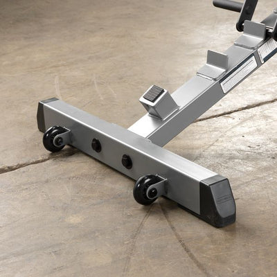Body-Solid GFID71 adjustable flat incline decline bench black silver wheels for mobility