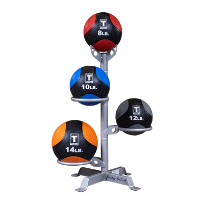 Body Solid medicine ball rack silver with color medicine balls Simpsons Fitness Supply