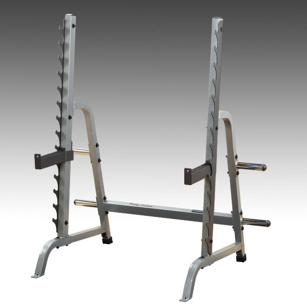 body solid multi press rack GPR370 grey with spotter arms and weight storage