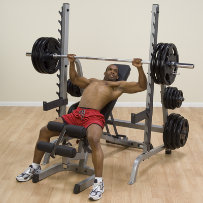 man doing incline bench press on body sold rack GPR370