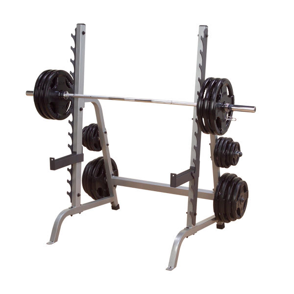 body solid gun rack weight storage with barbell and rubber coated grip plates