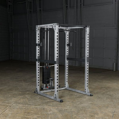 body solid gpr378 power rack w/ lat pull 200lb stack black & sliver