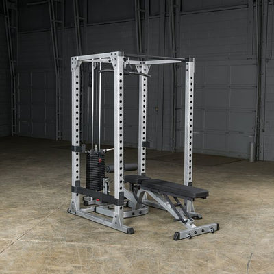 body solid gpr378 power rack w/ lat pull 200lb stack black & sliver gfid378 adjustable bench