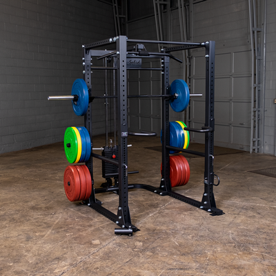 body solid ppr400 with added accessories plate storage bumper plates lat tower