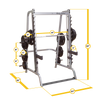 Body Solid GS348Q smith machine black and silver dimensions simpsons fitness supply