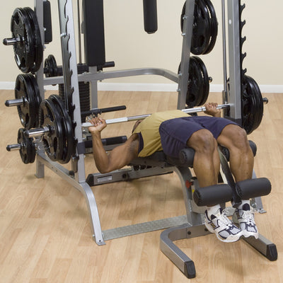 Body Solid GS348Q smith machine black and silver decline bench simpsons fitness supply